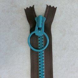 画像1: リングファスナー(28cm)茶・ブルー