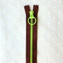 画像1: カラフルファスナー(20cm)赤紫・黄緑