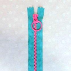 画像1: カラフルファスナー(20cm)ブルー・ピンク