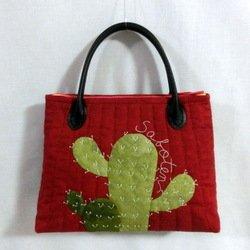 画像1: サボテンのバッグ・赤(持ち手あり)