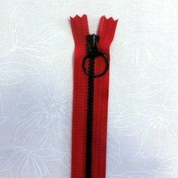 画像1: カラフルファスナー(30cm)赤・黒