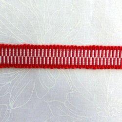 画像1: 真田紐(中幅 ➉赤&ホワイト)